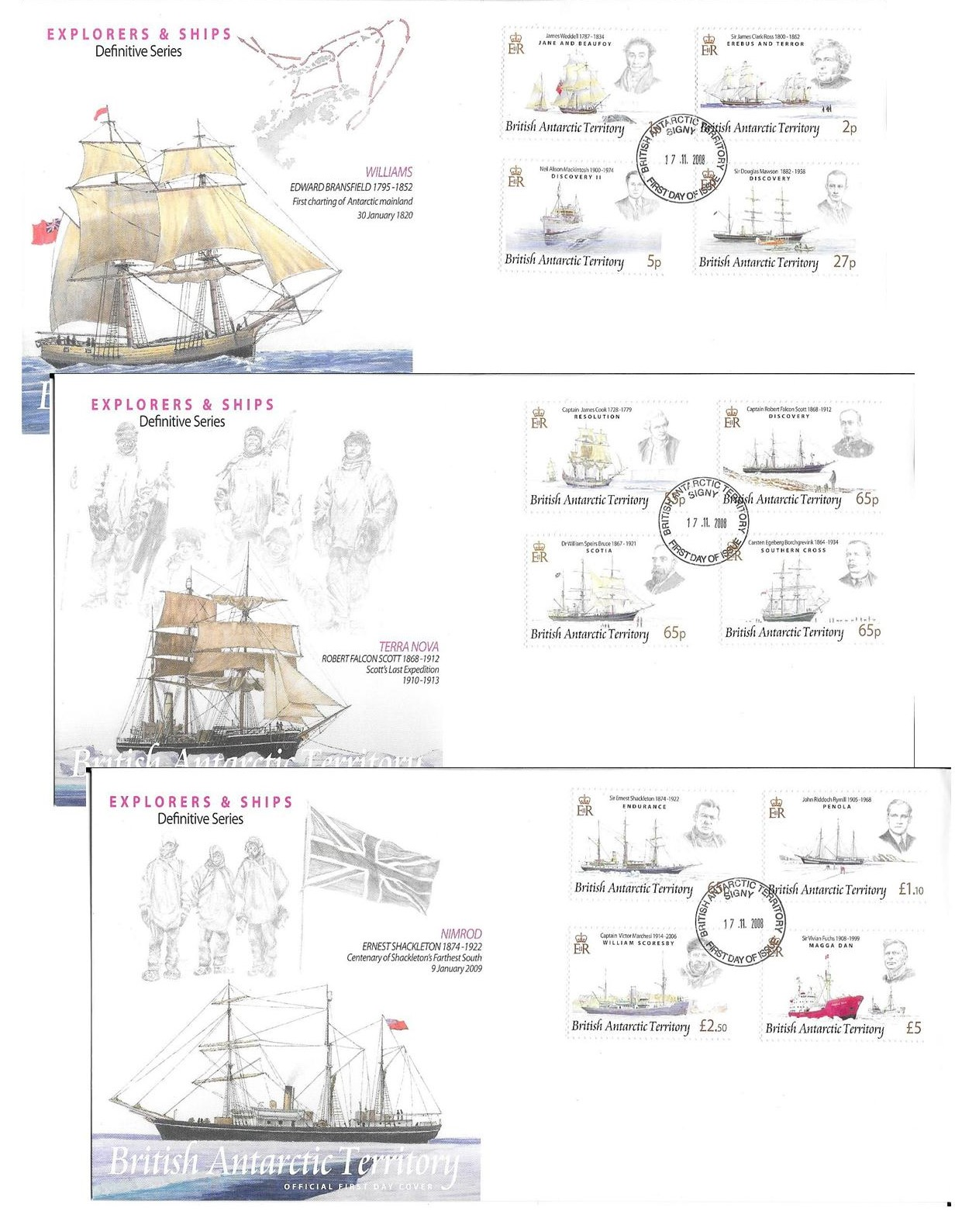 Explorers and Ships 2008 Definitive Set Covers Signy cancel