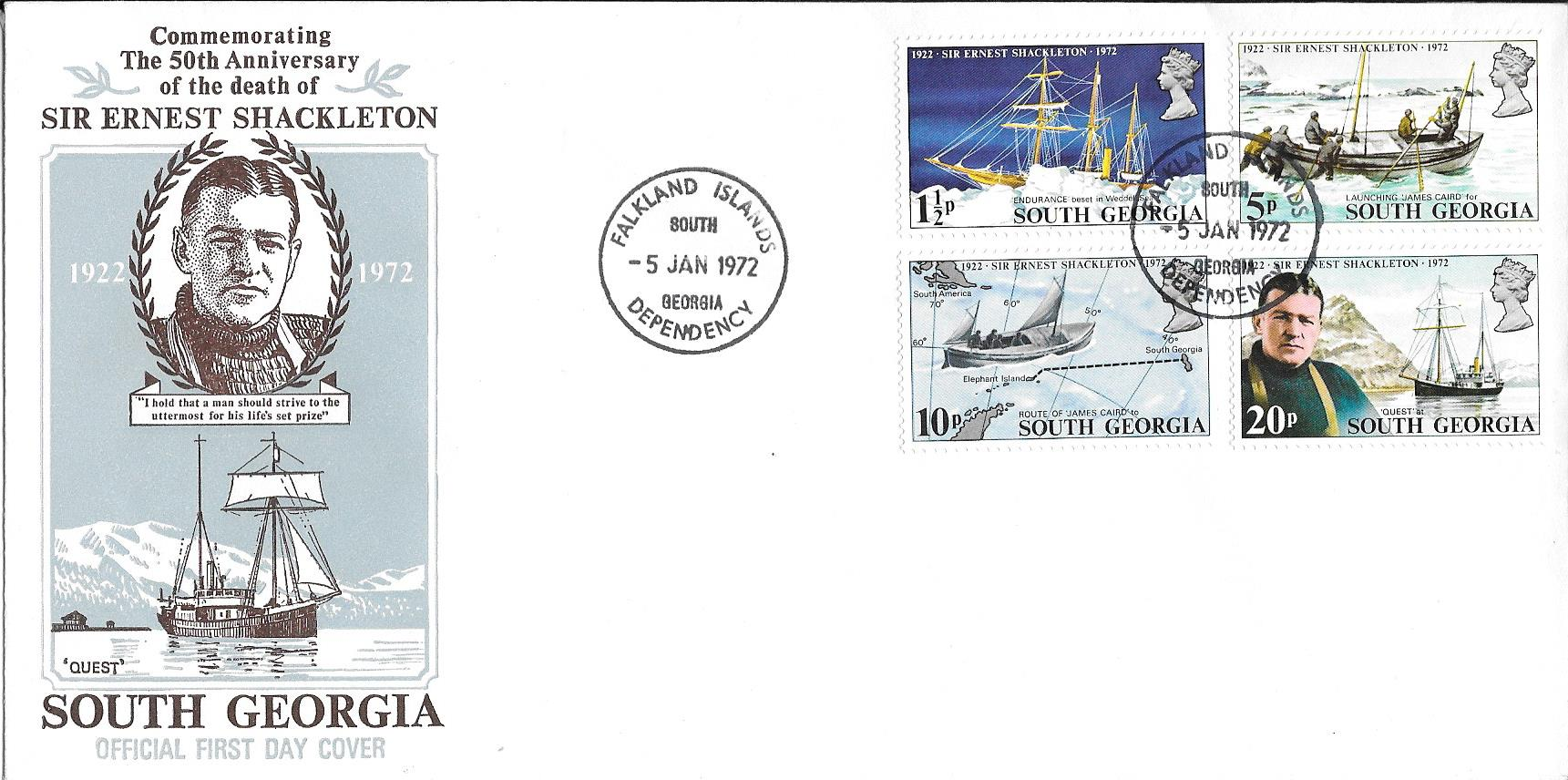 Sir Ernest Shackleton 50th Anniversary Death 1922 - 1972 Cover