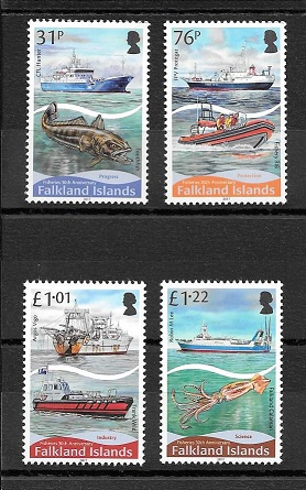 30th Anniversary Falkland Islands Fishery Mint Set Stamps