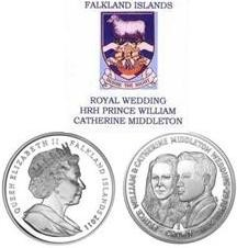 Royal Wedding William & Catherine Falkland Island coin